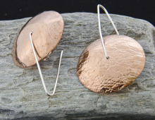 Copper, sterling silver wire, roller embossed, fabricated